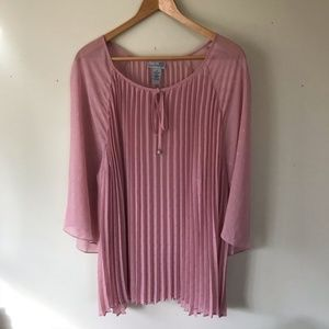 Catherine's Pink Sheer Pleated Glitter Blouse